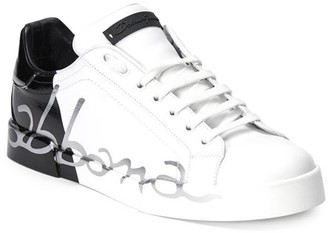 Dolce & Gabbana Portofino Script Leather Sneakers