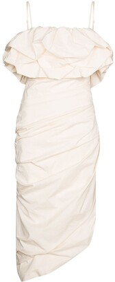 Johanna Ortiz Ruched Detail Drape Midi Dress