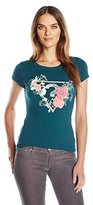 GUESS Women's Short Sleeve Sketch Collage Logo Tee