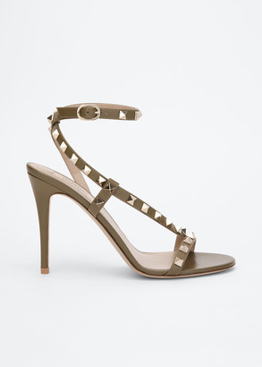 Valentino Rockstud 100mm Asymmetric Ankle-Strap Sandal