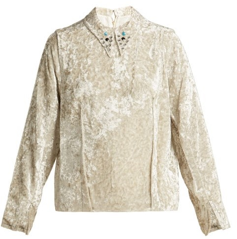 Toga Studded Collar Crushed Velvet Top - Womens - Ivory