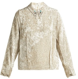Toga Studded-collar Crushed Velvet Top - Womens - Ivory