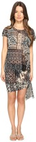 Fuzzi Lace Mosaic Printed Oversized Top with Knot Detail Women's Clothing