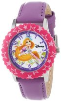 """Disney Kids' W000045 """"Princess Time Teacher"""" Stainless Steel Watch with Purple Leather Band"""