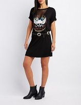 Charlotte Russe Mesh-Inset Graphic T-Shirt Dress