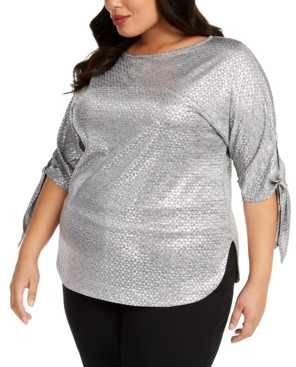 JM Collection Plus Size Metallic Tie-Cuff Top, Created for Macy's