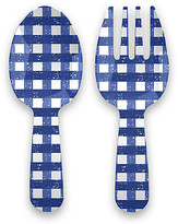One Kings Lane Set of 2 Gingham Melamine Servers - Blue