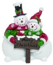 Transpac Trans Pac Resin White Christmas Merry Snowman