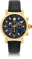 Versace Black and Gold Women's Chronograph Watch