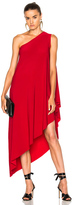 Norma Kamali One Shoulder Diagonal Dress in Red.