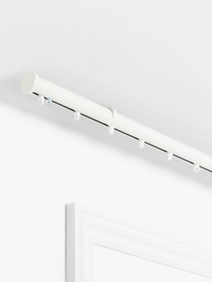 John Lewis & Partners Made to Measure Hand Drawn Revolution Curtain Track with Curl Gliders and Stud Finials, Flush Ceiling Fix, Dia.30mm