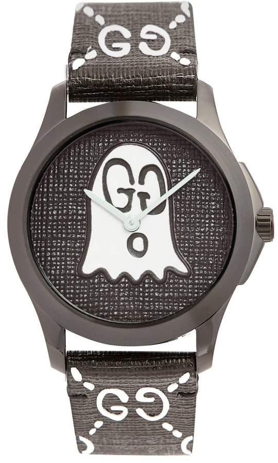 Gucci GG-Ghost textured-leather watch