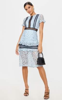 PrettyLittleThing Dusty Blue Lace Ruffle Detail Midi Dress