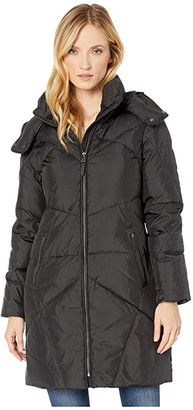 Cole Haan Down Coat w/ Intricate Angular Quilt Stitching and Removable Hood (Sand) Women's Coat