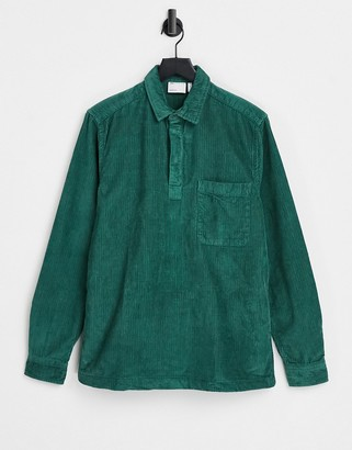 ASOS DESIGN rugby style overhead cord shirt in green