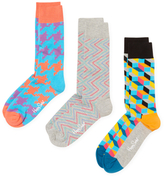 Happy Socks Pixels & Geometric Print Socks (3 PK)