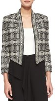 Haute Hippie Tribal-Print Chevron-Embellished Jacket, Swan/Black