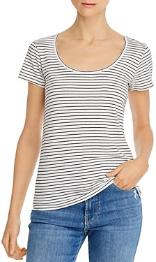 Frame Le Mid Rise Scoop-Neck Striped Tee