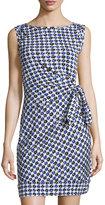 Diane von Furstenberg New Della Gathered Sleeveless Dress, Check Dot Blue