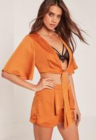 Missguided Kimono Sleeve Satin Tie Front Crop