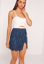 Missguided Wrap Lace Mini Skirt Navy