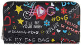 Dolce & Gabbana Black Graffiti Print Zip Around Wallet