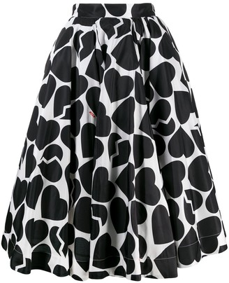 MSGM Flared Heart-Print Skirt