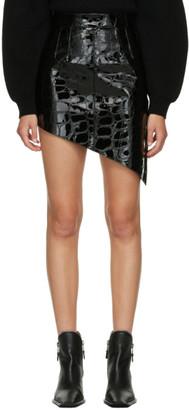 Alexander Wang Black Croc Asymmetric Miniskirt