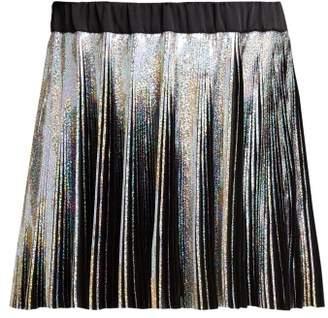 Balmain Holographic Pleated Voile Mini Skirt - Womens - Black Multi
