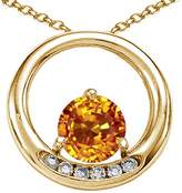 Tommaso design Studio Tommaso Design Round 6mm Genuine Citrine and Diamond Circle Pendant 14k