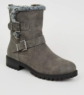 New Look Wide Fit Faux Fur Lined Biker Boots