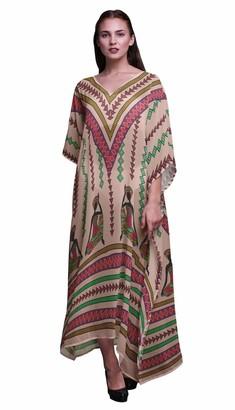 Phagun Tribal African Ladies Kaftan Holiday Loungewear Maxi Dress Beach Coverup-SL