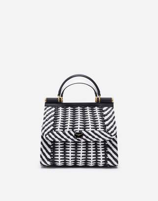 Dolce & Gabbana Small Sicily 58 Bag In Woven Nappa Leather