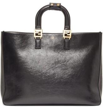 Fendi Glacier Medium Leather Tote Bag - Black