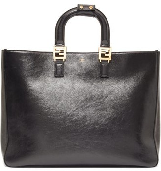 Fendi Glacier Medium Leather Tote Bag - Womens - Black