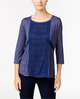 NY Collection Petite Crochet-Trim High-Low Top
