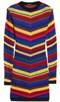Balmain Striped Crochet-Knit Mini Dress