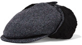 Maison Michel Wyatt Shearling-lined Herringbone Cotton, Wool And Alpaca-blend Hat