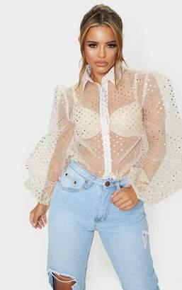PrettyLittleThing Petite Cream Organza Balloon Sleeve Shirt