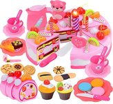 Elisona-80 PCS Kids Children Plastic Educational Pretend Kitchen Cake Dessert Toy Set Christmas Gift for Over 3 Years Old Kids
