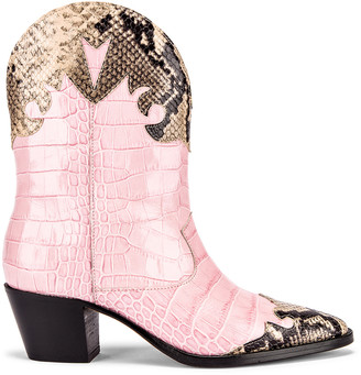 Paris Texas Python Print and Moc Croco Texano Boot in Light Pink & Natural | FWRD
