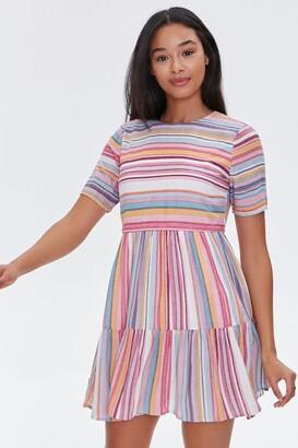 Forever 21 Striped Flounce-Hem Mini Dress