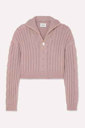 Nanushka Eria Cropped Faux Pearl-embellished Cable-knit Sweater - Blush