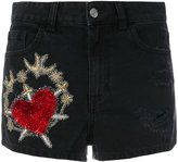 Amen embroidered denim shorts