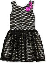 Zoë Ltd Sleeveless Smocked Mesh Dress, Black/White, Size 7-16