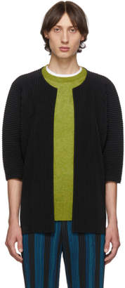 Issey Miyake Homme Plisse Black Pleated Open Front Cardigan