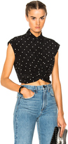 Alexander Wang Short Sleeve Collared Knot Front Top in Black,Geometric Print.