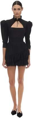 Ulyana Sergeenko Ruffled Silk Mini Dress