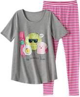 "So Girls 4-14 SO ""The Breakfast Squad"" Tunic & Striped Leggings Pajama Set"