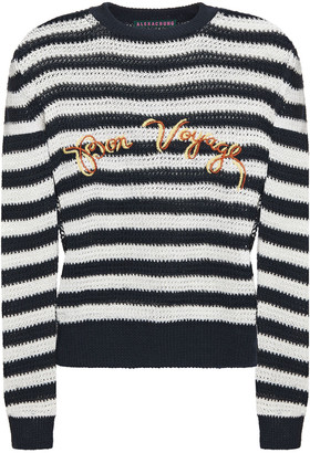 ALEXACHUNG Embroidered Striped Open-knit Linen Sweater